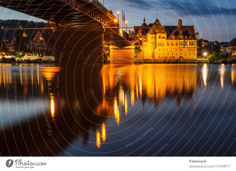 Traben-Trarbach old post office at blue hour Vacation & Travel River Moselle Traben-Trabach Skyline House (Residential Structure) Bridge Historic Buildings