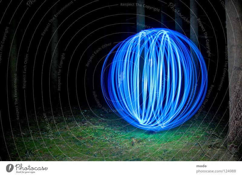 force field Light Forest Tree Dark Planet Flashlight LED Grass Meadow Rotate Circle Long exposure Sphere Bright Blue Surrealism spinning. long-term exposure
