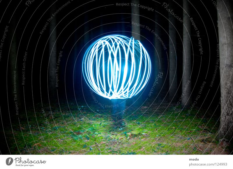 Force field No.2 Light Forest Tree Dark Planet Flashlight LED Grass Meadow Rotate Circle Long exposure Laser Sphere Bright Blue Surrealism force field