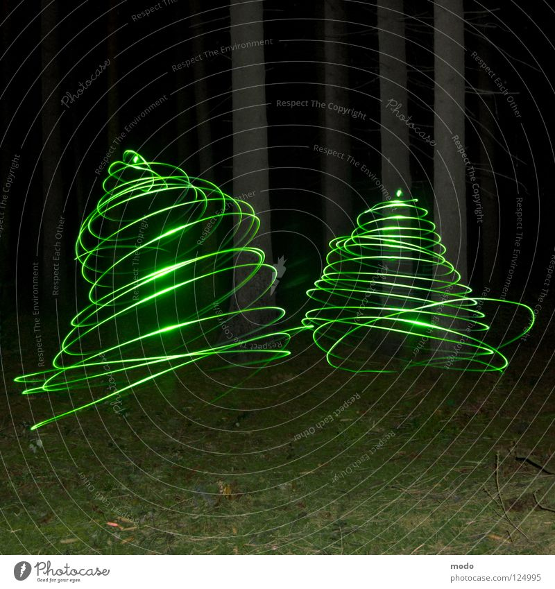 Tree Blue Forest Dark Meadow Grass Bright Long exposure Circle Rotate Surrealism Planet Laser LED Swirl