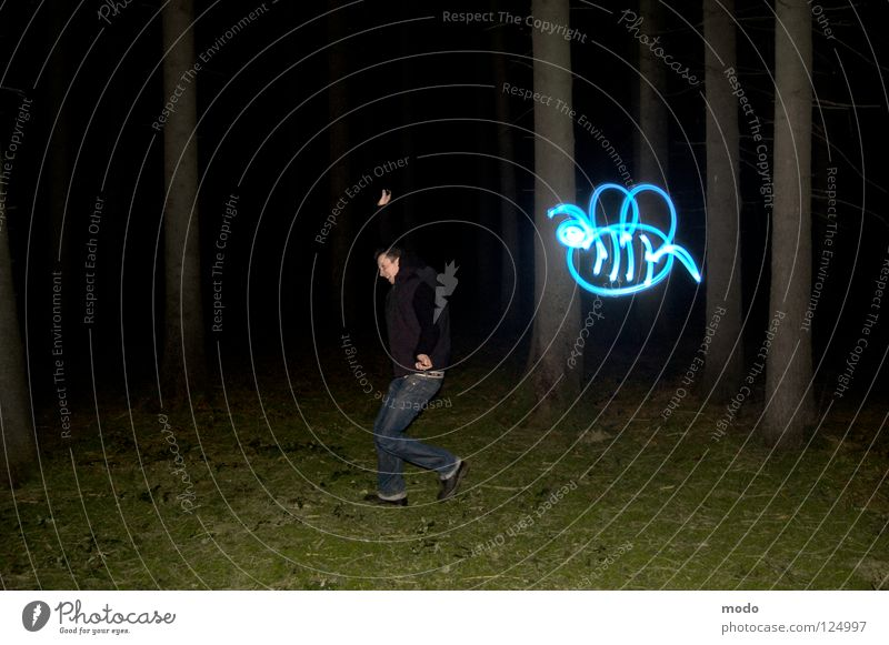 pollination fears Light Forest Tree Dark Planet Flashlight LED Grass Meadow Rotate Circle Long exposure Laser Bee Pierce Stripe Bright Blue Surrealism