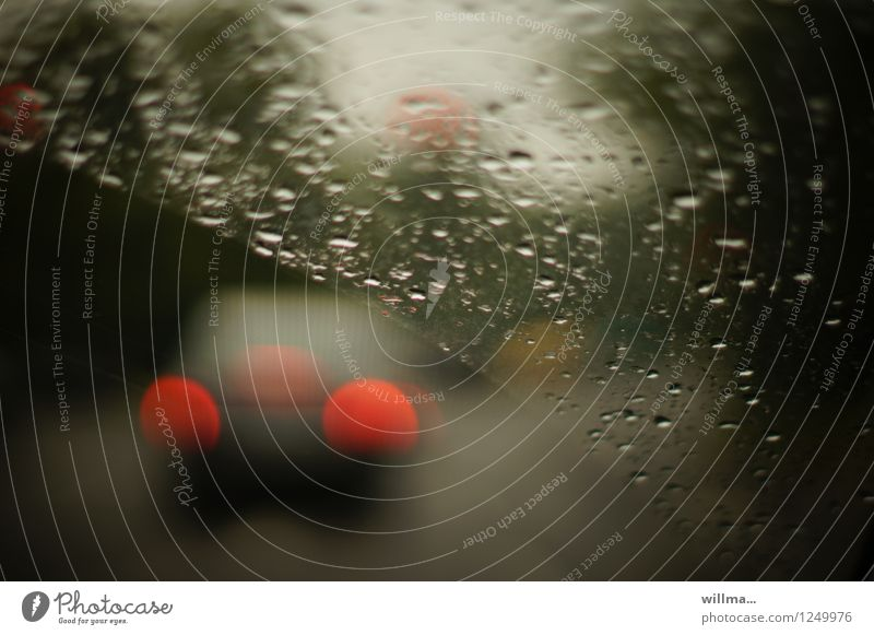 driving in the rain Motoring Windscreen Rain Wet Transport Drops of water Weather Bad weather Street Car Dark Rear light rainy day Autumnal weather