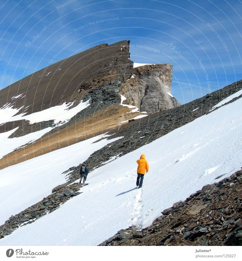 Soon done! Hiking Climbing White Switzerland Steep Cold Stone Lighting Mountain Mountaineering Beautiful Sky Snow Level Far-off places Frost Winter sports