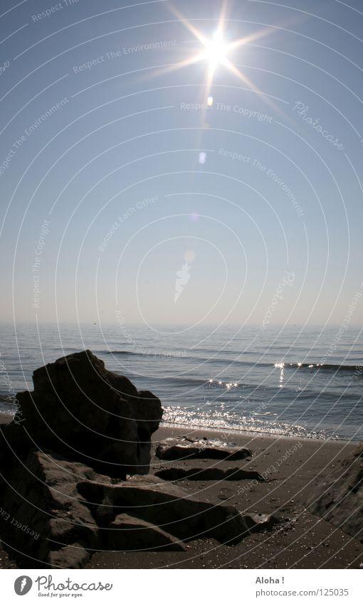 Enjoy the sun like the stone on the beach! Horizon Clouds Ocean Gray White Waves Reflection Light Sunbeam Beach Lake Fog Black Planet Possible Events Art Dream