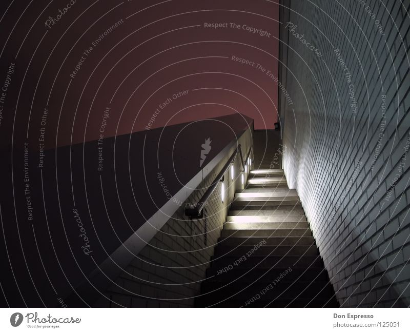 Red Lamp Wall (barrier) Line Stairs Handrail Graphic Pyramid Night shot Bremerhaven