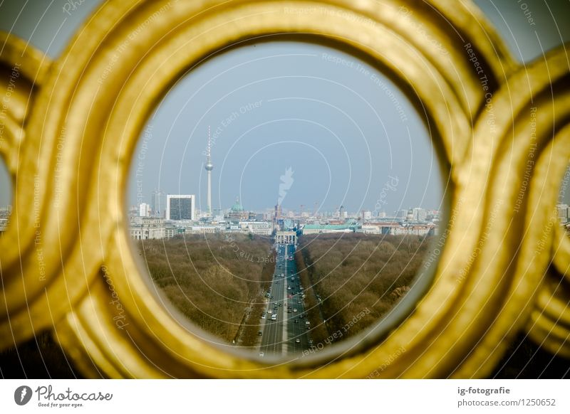 Berlin through a Pinhole Town Capital city Park Landmark Love Life Ausblick Fernsehturm Victory column TV-Tower Aussicht Street Tiergarten Colour photo
