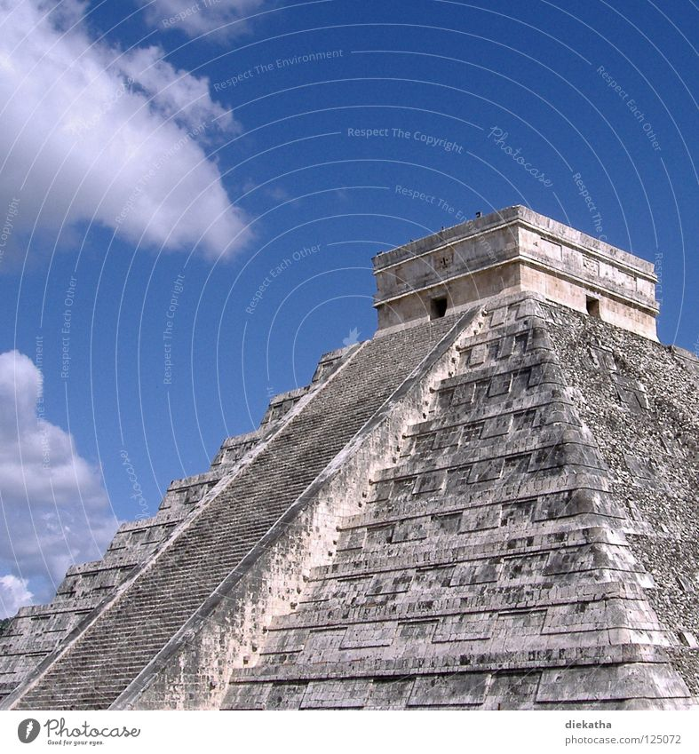 Pyramid of Kukulcán Maya Chichen Itza Central America Culture Clouds Step Pyramid Astronomy Science & Research Honor Mexico wonder of the world Stairs Sky Blue
