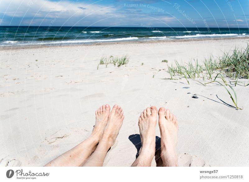 Human being Woman Sky Vacation & Travel Man Summer Relaxation Ocean Clouds Beach Adults Feminine Legs Feet Horizon Masculine