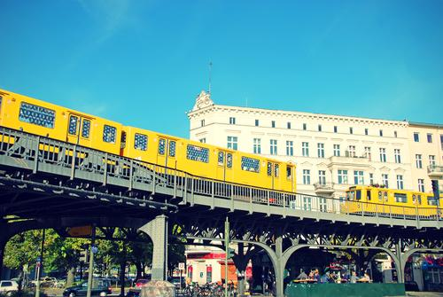 Vacation & Travel Blue Summer House (Residential Structure) Architecture Berlin Orange Railroad Café Railroad tracks Underground Night life Hamburger Kreuzberg