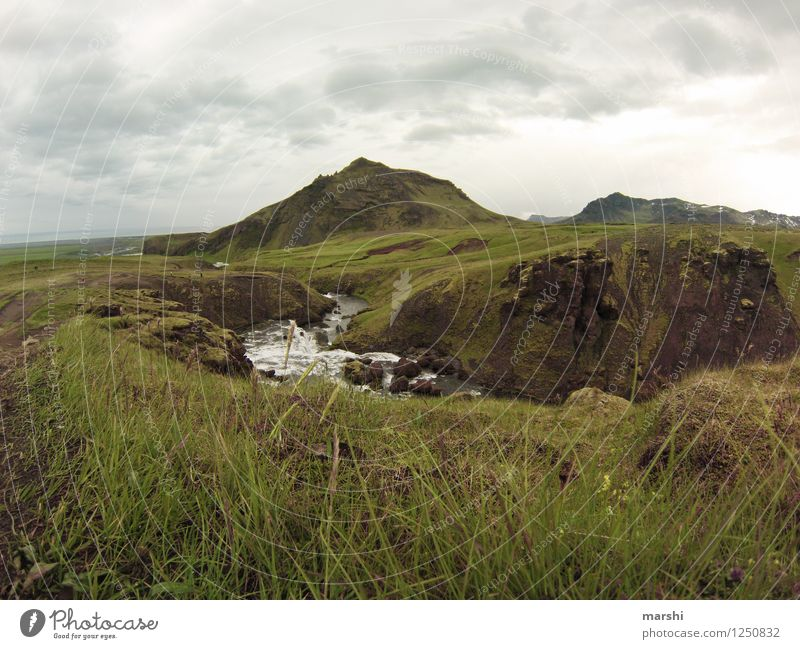 at the end comes the waterfall Nature Landscape Animal Water Clouds Summer Weather Mountain Volcano Canyon River Waterfall Moody Iceland Green Far-off places