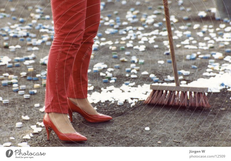 Woman Human being Red Footwear Legs Trash Pants Broom