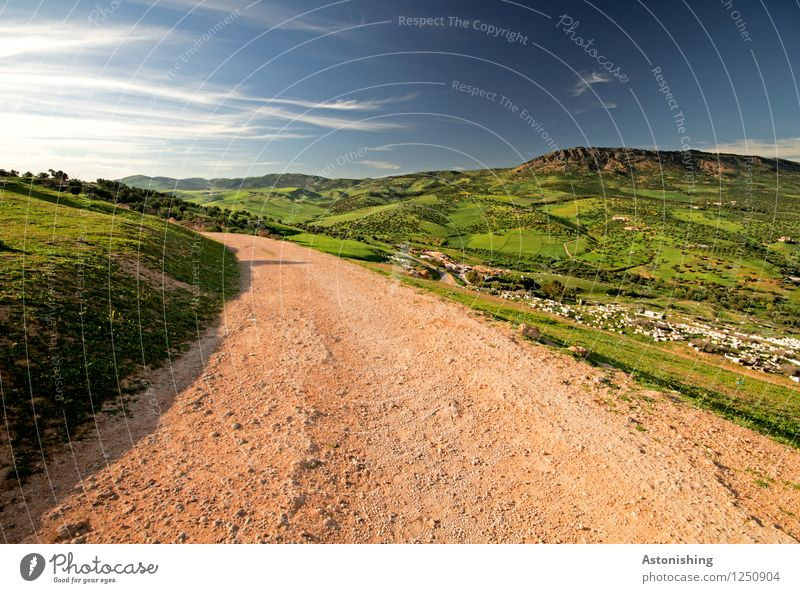 red trail to the countryside Environment Nature Landscape Plant Air Sky Clouds Horizon Summer Weather Beautiful weather Tree Grass Meadow Hill Peak Fez Morocco