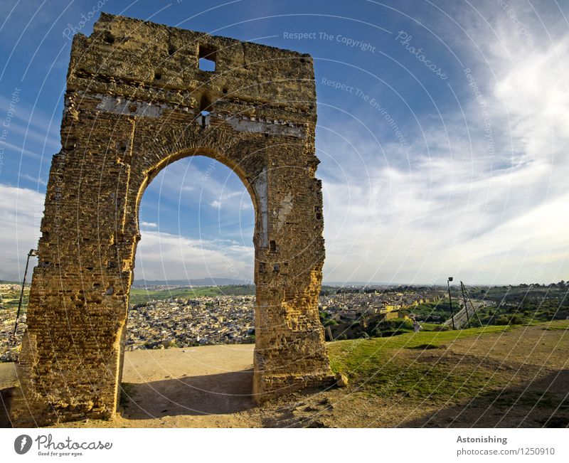 the old gate I Environment Nature Landscape Sand Sky Clouds Horizon Summer Weather Beautiful weather Plant Grass Hill Fez Morocco Africa Town