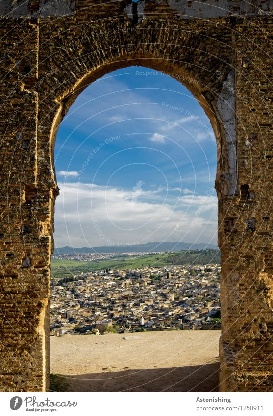 the old gate II Environment Sky Clouds Horizon Summer Weather Beautiful weather Plant Tree Forest Fez Morocco Africa Town Old town House (Residential Structure)
