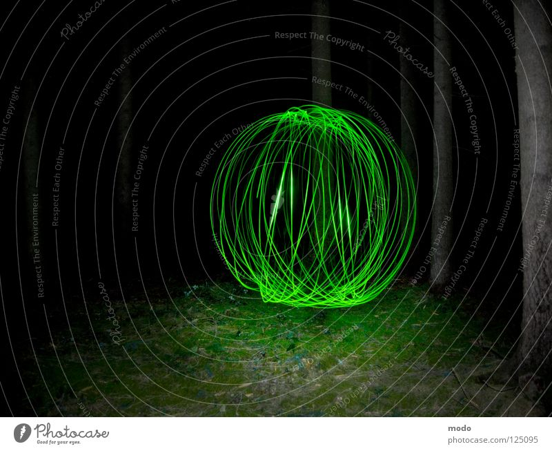 Force field No.3 Light Forest Tree Dark Green Planet Flashlight LED Grass Meadow Rotate Circle Long exposure Laser Sphere Bright Surrealism force field