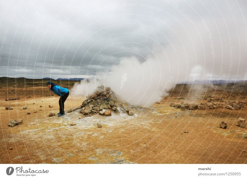 drop the bomb Human being 1 Environment Nature Landscape Volcano Emotions Moody Sulfur spring Sulphur Steam Fart Iceland Travel photography Vacation & Travel