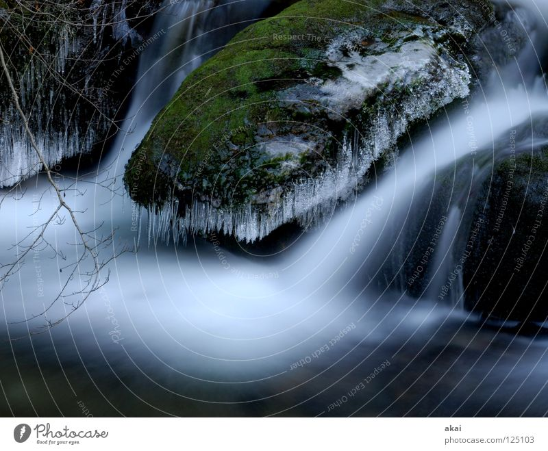 Water Blue Forest Cold Mountain Landscape River Soft Brook Waterfall Warped Sky blue Black Forest Freiburg im Breisgau Schauinsland Highlands