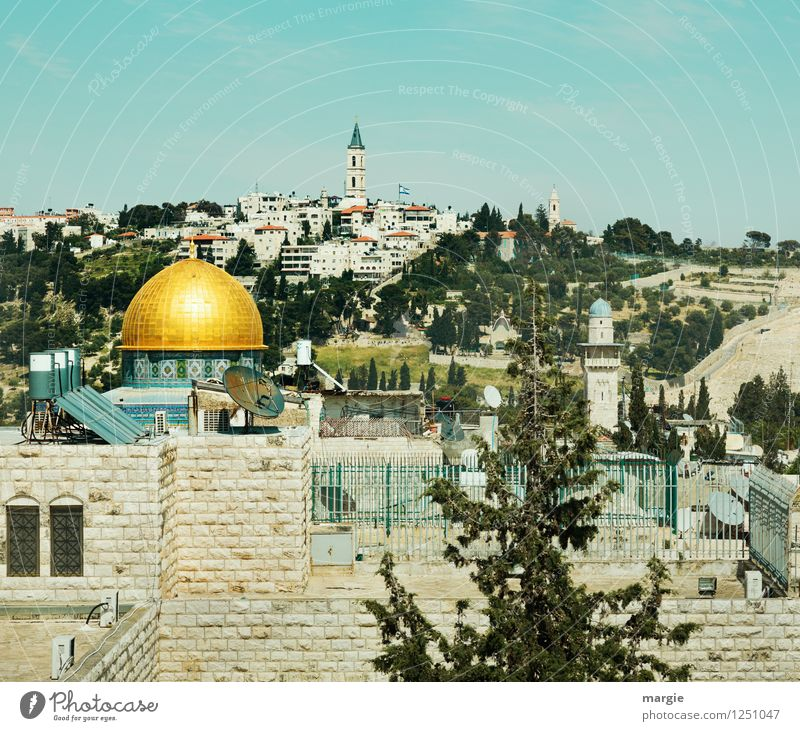 View of the Dome of the Rock in Jerusalem Vacation & Travel Tourism Far-off places Freedom Work of art Culture West Jerusalem Dome of the rock The Wailing wall