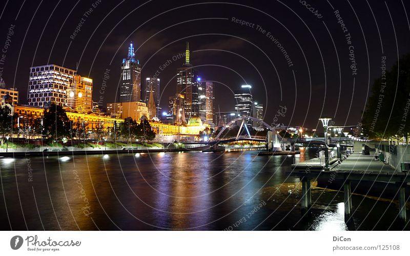 Water City Lamp Life Dark High-rise Bridge Modern Tourism River Skyline Society Downtown Australia Wanderlust