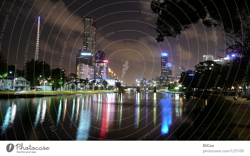 Birrarung Marr Melbourne Yarra river Night Light Town High-rise Dark Society Tourism Impressive Australia Reflection Downtown Night shot Wanderlust Night life