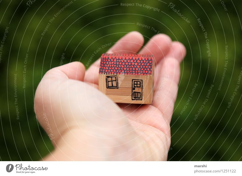 House in the green Nature House (Residential Structure) Sign Moody Living or residing Dream house Build Hand Protection Green Garden Detached house Life