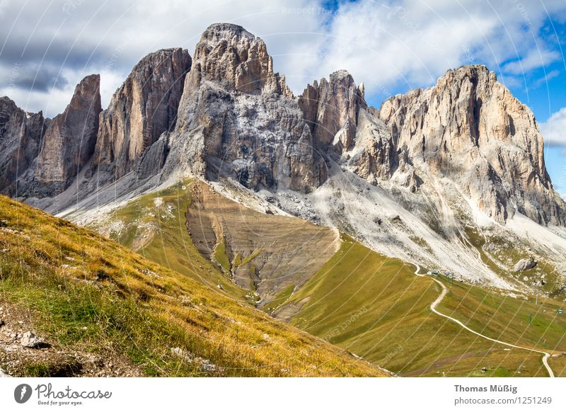 Vacation & Travel Beautiful Summer Forest Mountain Tourism Hiking Italy Peak Alps Wanderlust Mountaineering Blue sky South Tyrol Dolomites Sella