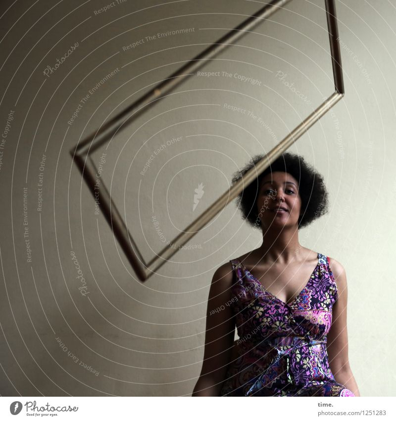 siren Room Feminine Young woman Youth (Young adults) 1 Human being Dress Black-haired Afro Picture frame Observe Looking Wait Beautiful Joy