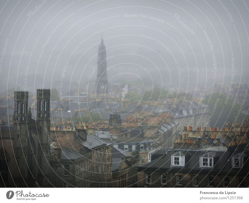 Edinburgh in the fog City trip Scotland Great Britain Europe Town Capital city Downtown Deserted Church Roof Chimney Dark Creepy Historic Cold Brown Gray Calm