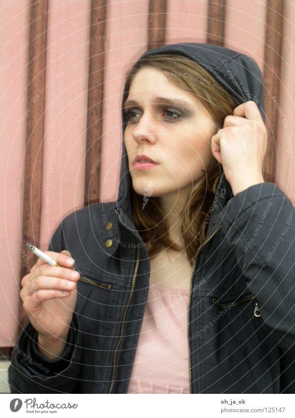 Woman Eyes Street Wall (barrier) Cigarette Balcony Hooded (clothing)