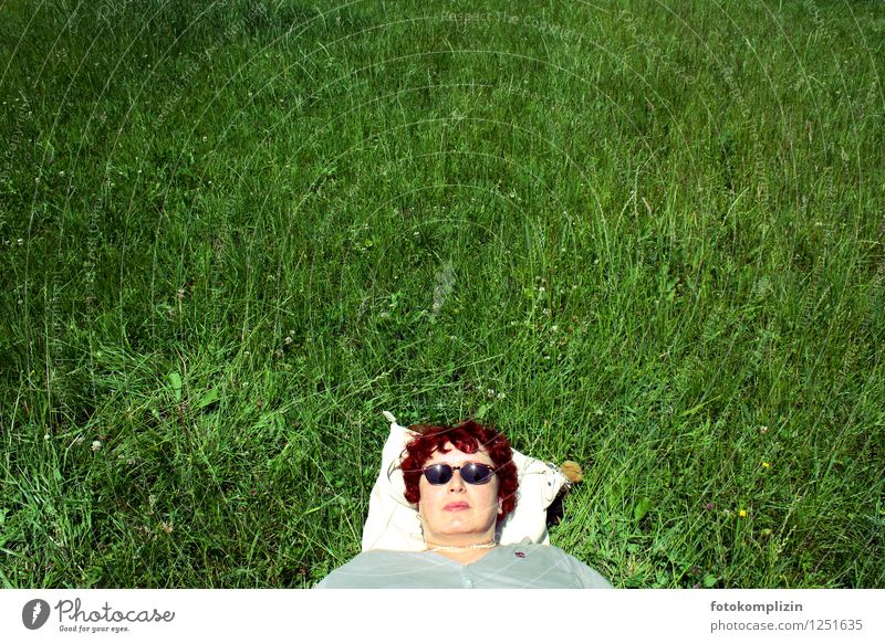 cool madame in the grass Healthy relax Relaxation Sunglasses Woman relaxed Meadow Rest Breathe Lie Dream Contentment Fatigue Joie de vivre (Vitality) Serene