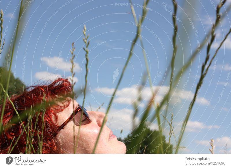woman resting in the grass Woman Well-being Senses Relaxation Calm Summer Sunbathing Feminine Grass Sunglasses To enjoy Lie Joie de vivre (Vitality) Serene