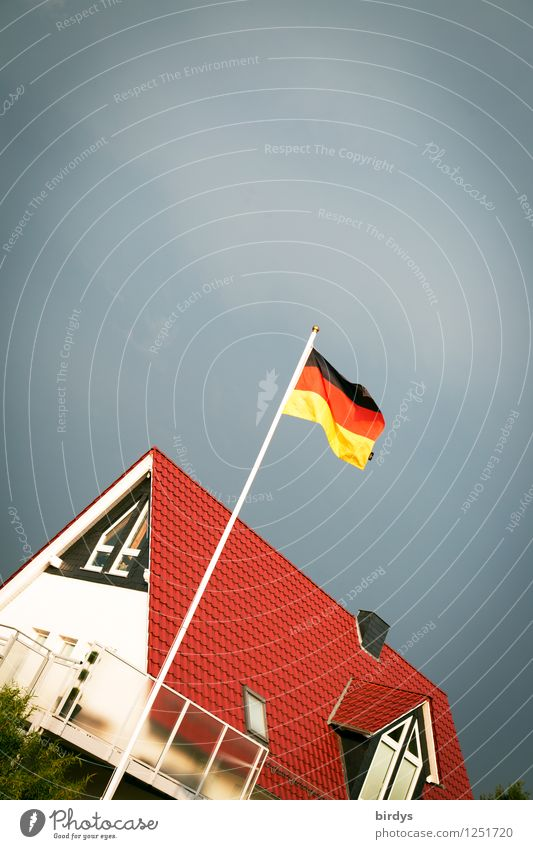 Land under Living or residing House (Residential Structure) Storm clouds Wind Germany Detached house German Flag Esthetic Kitsch Original Town Dependability