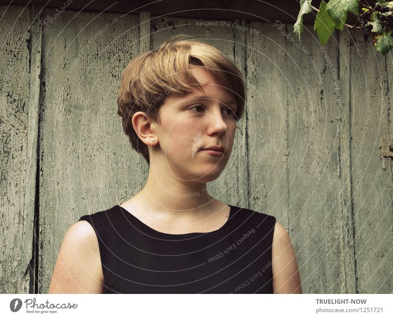 Young Melancholy Human being Feminine Girl Young woman Youth (Young adults) Infancy 1 13 - 18 years Child Dress Hair and hairstyles Blonde Short-haired Esthetic