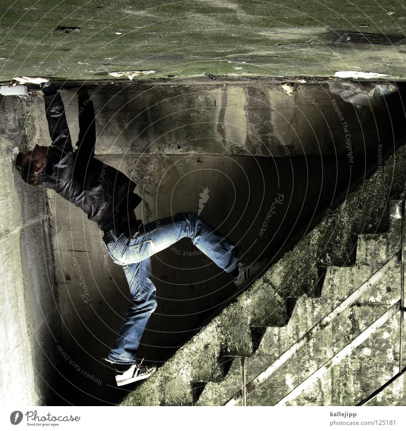 stairway to hell Man Silhouette Thief Criminal Ramp Loading ramp Pedestrian Shaft Tunnel Subsoil Outbreak Escape Tumble down Window Parking garage Geometry