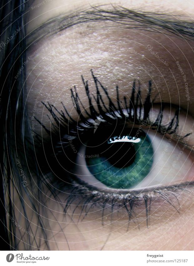 Dark Green Hair and hairstyles Face Make-up Mascara Eyes Black Mysterious Eyelash Eyebrow Pupil Mystic Eyeliner eye anni k. lashes Iris cryptic secret Close-up