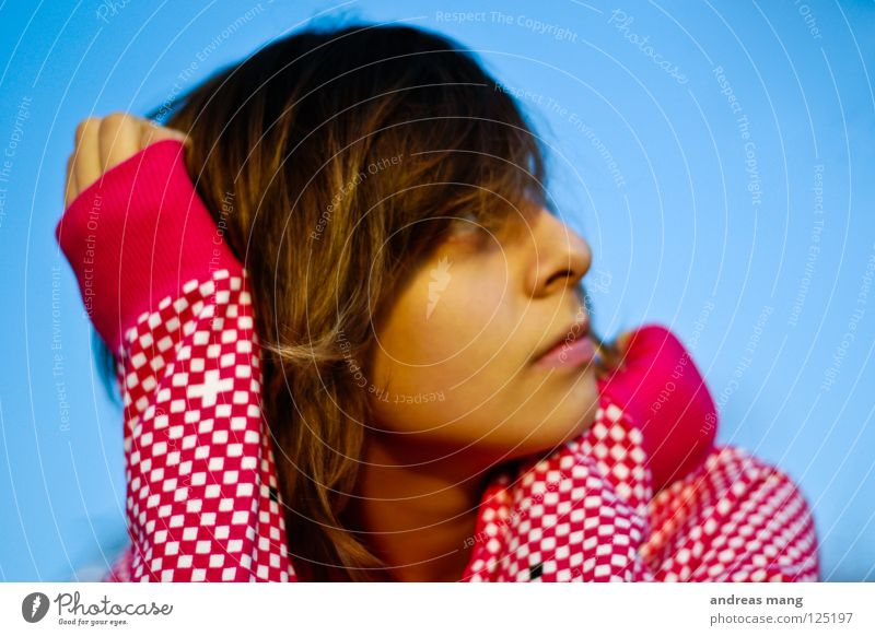 Woman Sky Blue Loneliness Relaxation Contentment Wait Sit Observe Longing To enjoy Dreamily