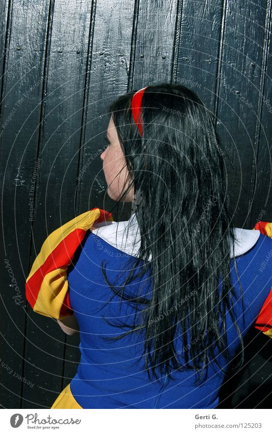 lady in black Snow White Fairy tale Girl Black Multicoloured Woman Dress Black-haired Long-haired Hair circlet Wood Blue-black Hair and hairstyles