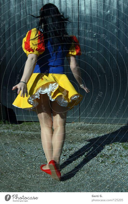 Woman Child Girl Joy Black Loneliness Movement Wood Legs Dance Arm Back Dress Hind quarters Carnival Gate