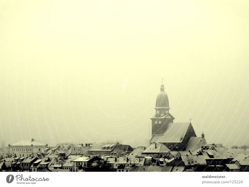 homeland Climatic spa Town Small Town Mecklenburg-Western Pomerania Home country Church spire Roof House (Residential Structure) Winter Snow Historic