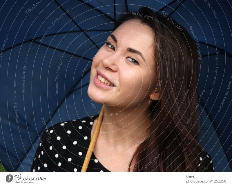 Yuliya Feminine Woman Adults 1 Human being Dress Umbrella Brunette Long-haired Observe Relaxation To enjoy Smiling Looking Astute Beautiful Joy Happiness