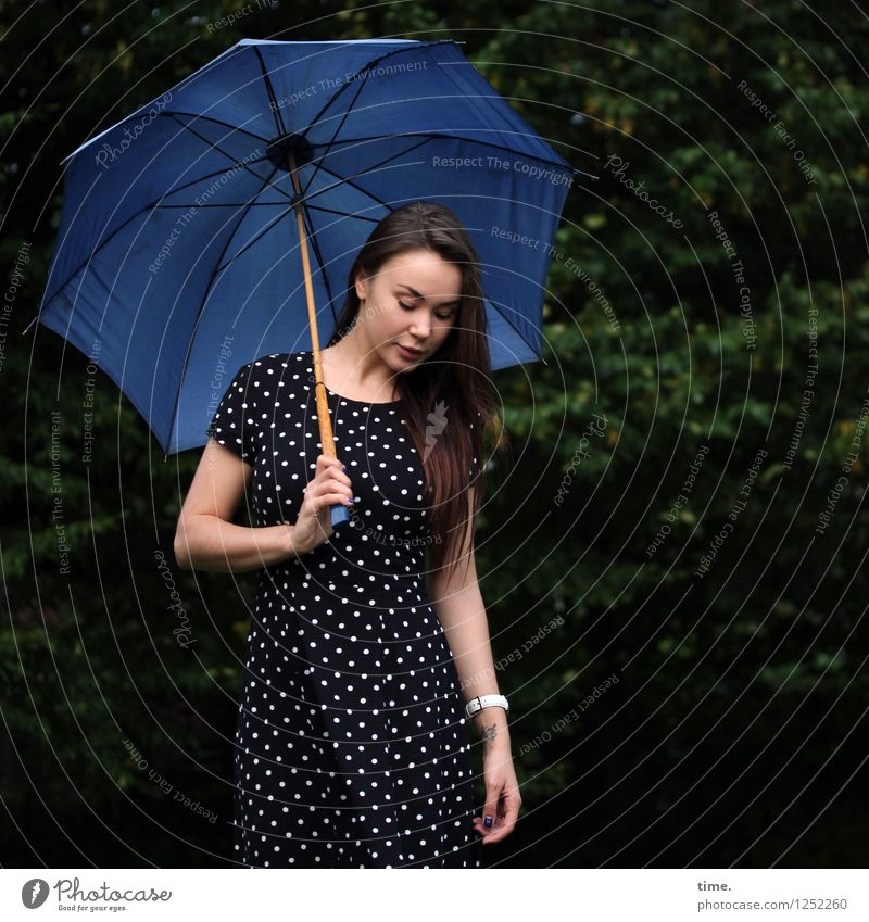 Yuliya Feminine Young woman Youth (Young adults) 1 Human being Park Dress Wristwatch Umbrella Brunette Long-haired Observe Looking Stand Wait Beautiful