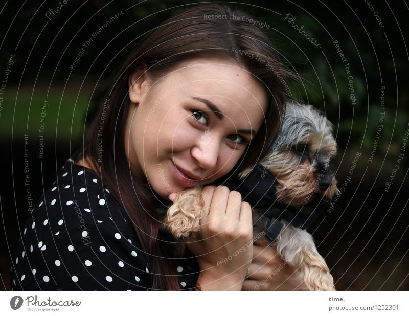 Yuliya Feminine 1 Human being Park Dress Brunette Long-haired Animal Dog To hold on Smiling Looking Beautiful Happy Contentment Passion Trust