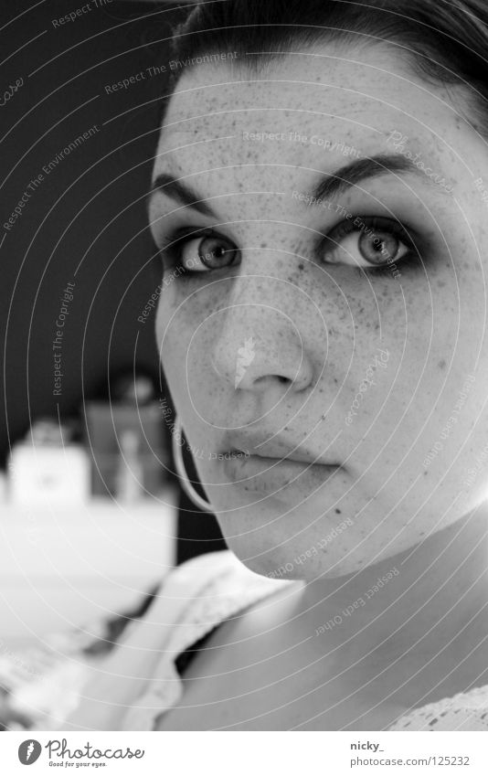 closed up Woman White Black Portrait photograph Close-up Face Eyes