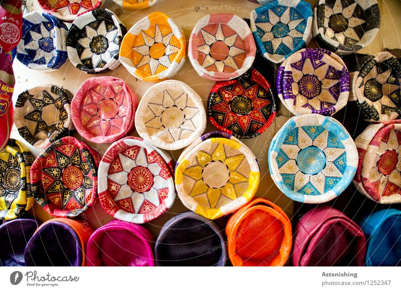 Moroccan stars Furniture beanbag Fez Africa Wall (barrier) Wall (building) Leather Hang Exotic Bright Beautiful Blue Multicoloured Yellow Gold Violet Orange