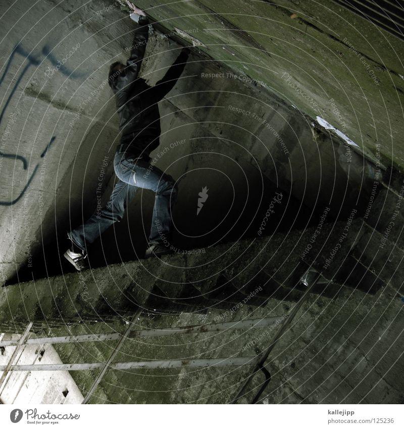 leg Man Silhouette Thief Criminal Ramp Loading ramp Pedestrian Shaft Tunnel Subsoil Outbreak Escape Tumble down Window Parking garage Geometry Back-light Jacket