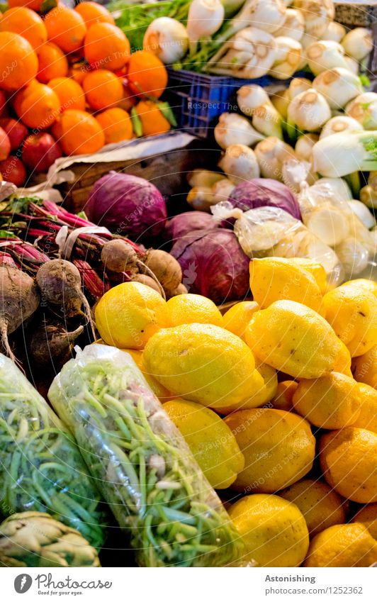 Fresh! Food Vegetable Fruit Orange Onion Garlic Beans Lemon Nutrition Vegetarian diet Shopping Fez Morocco Healthy Blue Brown Multicoloured Yellow Green Violet