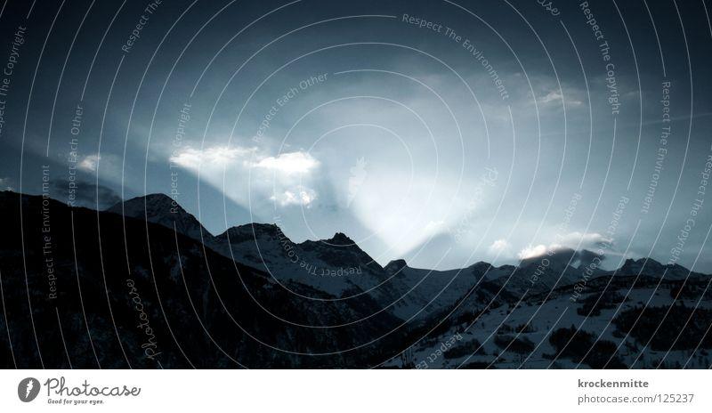 Nature Sun Blue Clouds Snow Mountain Landscape Beginning Switzerland Hill Radiation Wake up Mountain range Mountain ridge Sunrise Beam of light