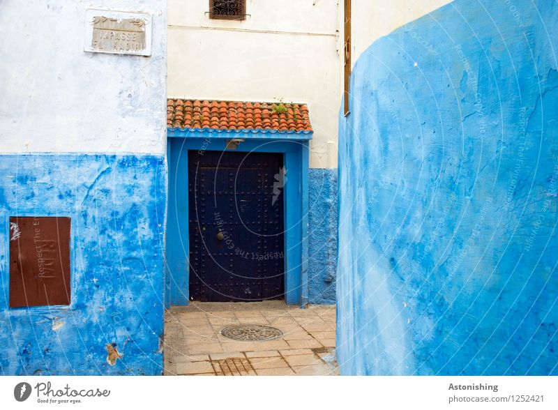 Blue door Rabat Morocco Africa Town Capital city Deserted House (Residential Structure) Gate Wall (barrier) Wall (building) Facade Window Door Street Stone Red