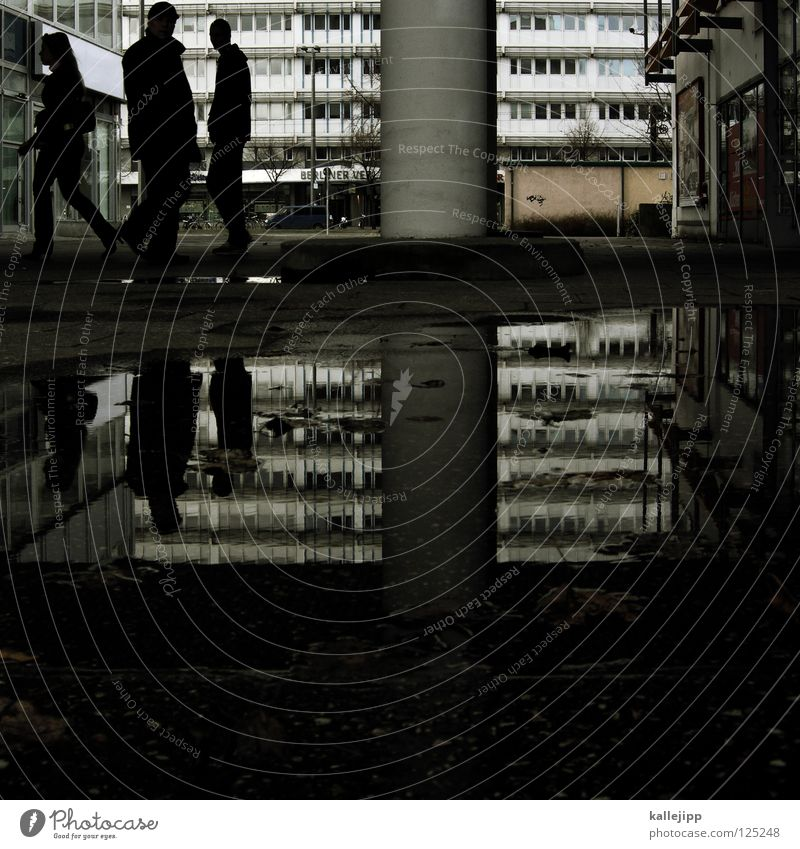 Human being Woman Man City Water Window Architecture Berlin Group Rain High-rise 3 Middle Column Puddle Anonymous