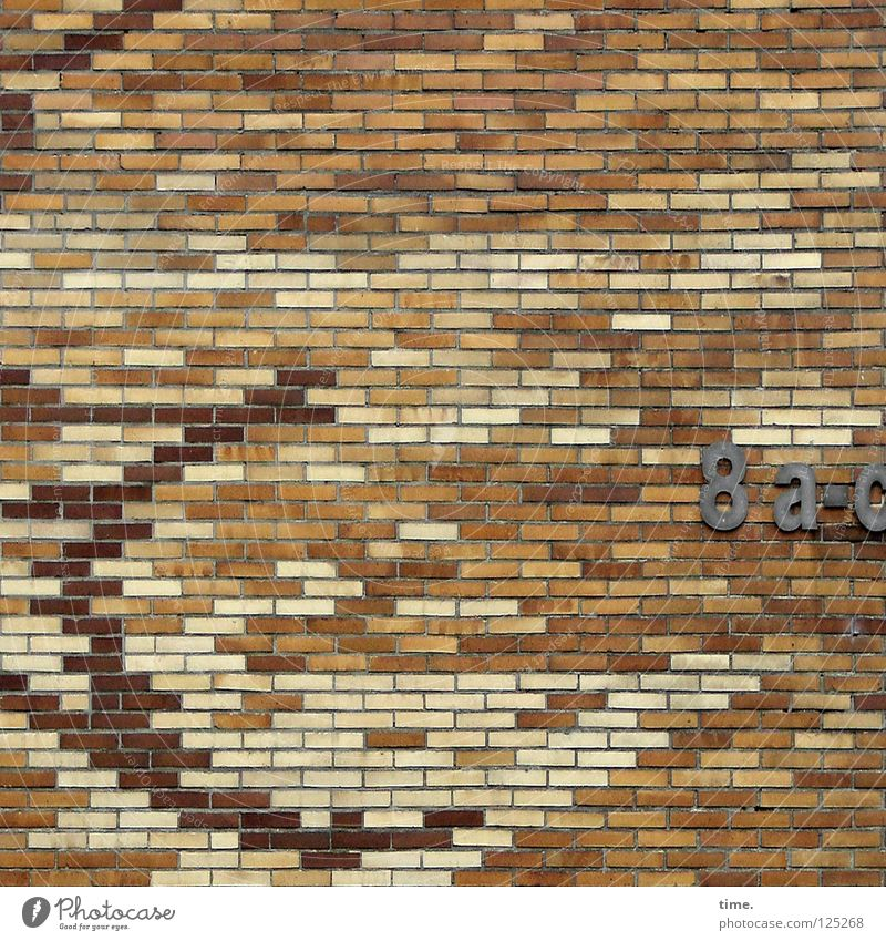 architect's mood Wall (barrier) Wall (building) Brick House number House (Residential Structure) Blonde Mosaic Red Mortar Sixties Detail Digits and numbers